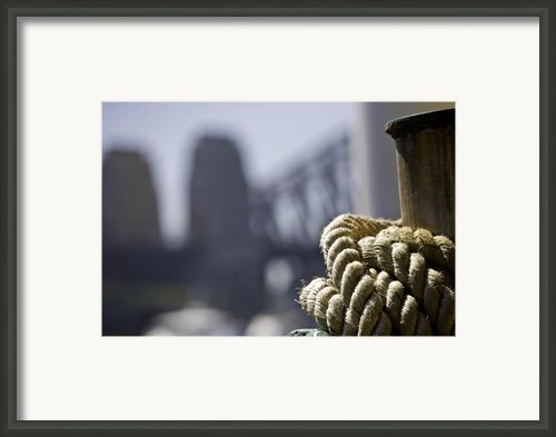 Ropes With Harbour Backdrop Framed Print By Sheila Smart