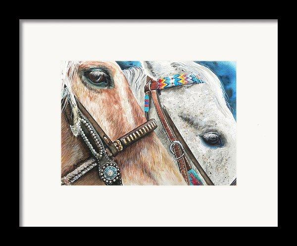 Roping Horses Framed Print By Nadi Spencer