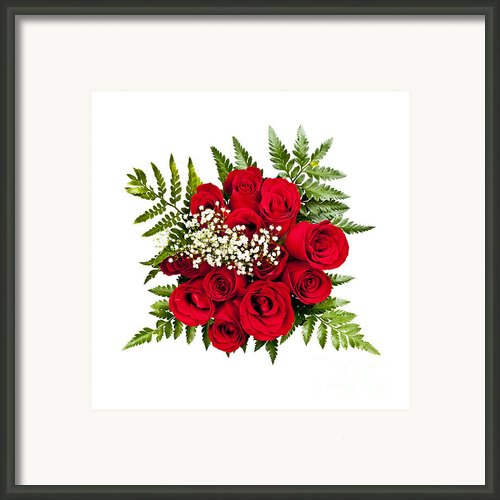Rose Bouquet From Above Framed Print By Elena Elisseeva