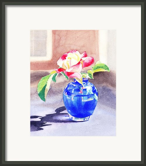 Rose In The Blue Vase  Framed Print By Irina Sztukowski
