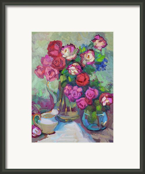 Roses In Two Vases Framed Print By Diane Mcclary