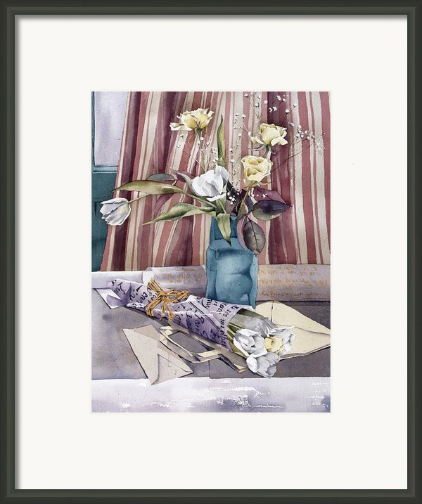Roses Tulips And Striped Curtains Framed Print By Julia Rowntree