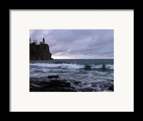 Rough Surf At Split Rock Framed Print By James Peterson