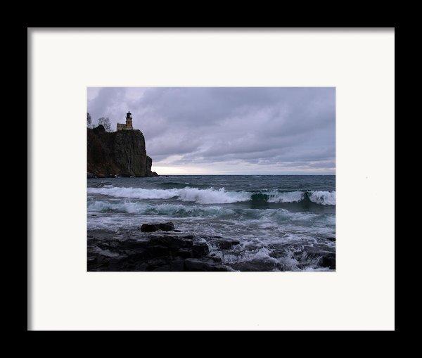 Rough Surf At Split Rock Framed Print By James Peterson