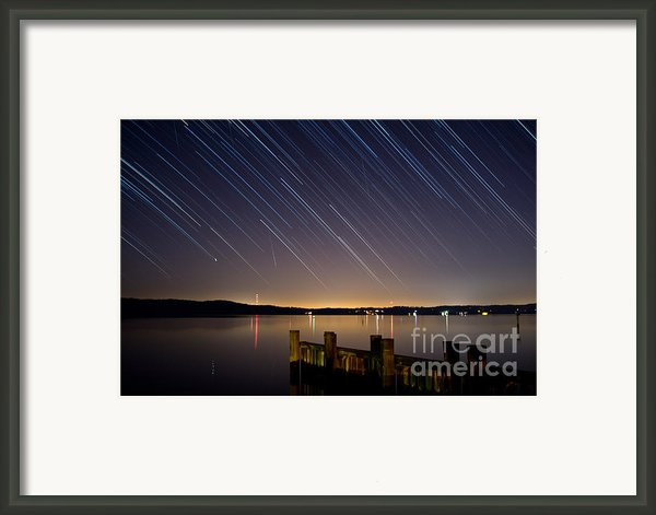 Round Bay Startrails And A Meteor Shower Framed Print By Benjamin Reed
