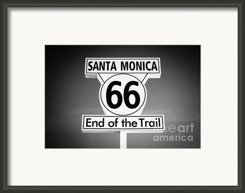 Route 66 Sign In Santa Monica In Black And White Framed Print By Paul Velgos