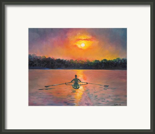 Rowing Away Framed Print By Eve  Wheeler