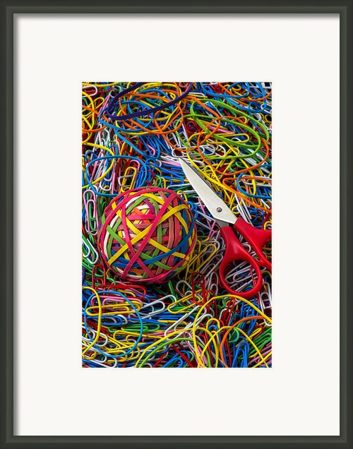 Rubber Band Ball With Sccisors Framed Print By Garry Gay