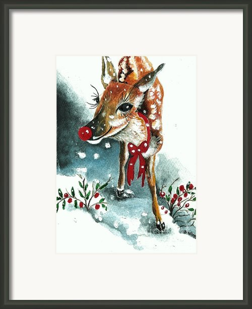 Rudolf Framed Print By Joy Bradley                   Dinardo Designs