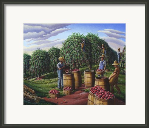 Rural Farm Landscape - Autumn Apple Harvest - Country Americana - Folk Art Framed Print By Walt Curlee