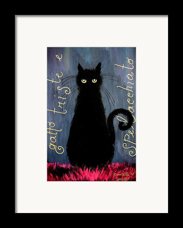 Sad And Ruffled Cat Framed Print By Donatella Muggianu