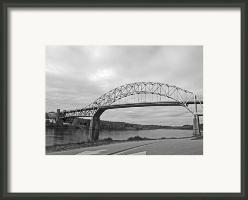 Sagamore Bridge Black And White Framed Print By Barbara Mcdevitt