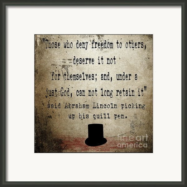 Said Abraham Lincoln Framed Print By Cinema Photography