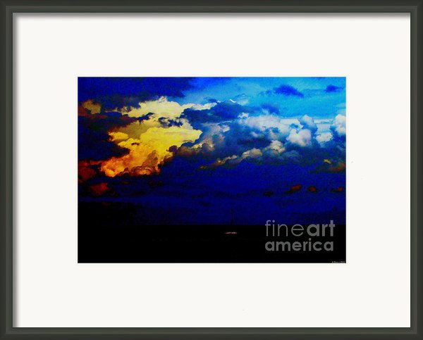 Sailboat Stuck In Approaching Storm Framed Print By Annie Zeno