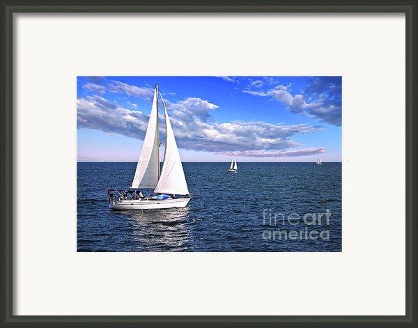 Sailboats At Sea Framed Print By Elena Elisseeva