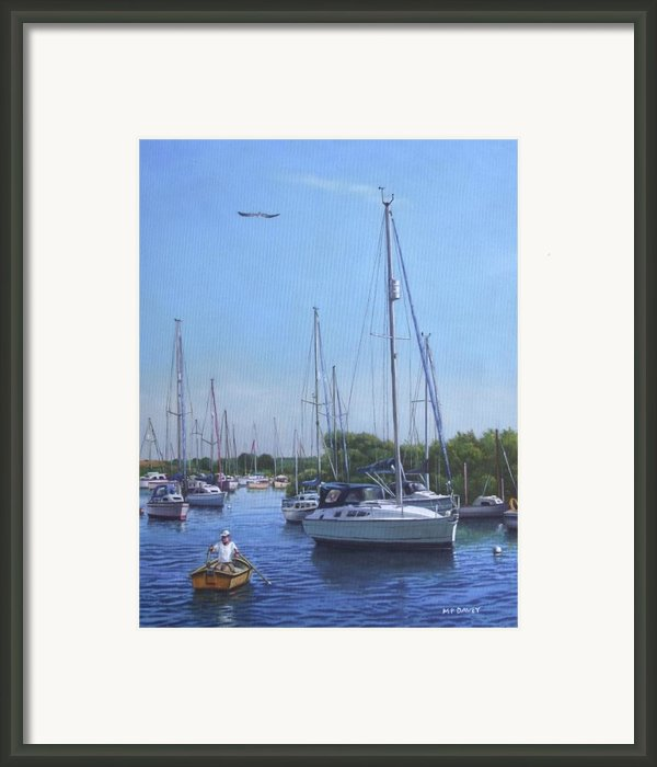 Sailing Boats At Christchurch Harbour Framed Print By Martin Davey