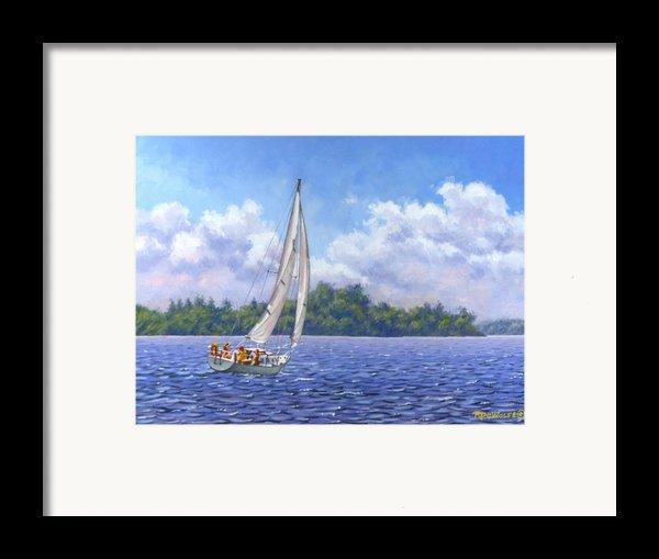 Sailing The Reach Framed Print By Richard De Wolfe