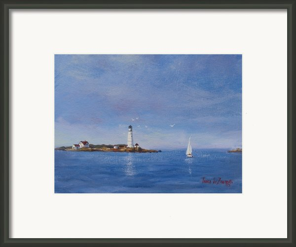 Sailing To Boston Light Framed Print By Laura Lee Zanghetti
