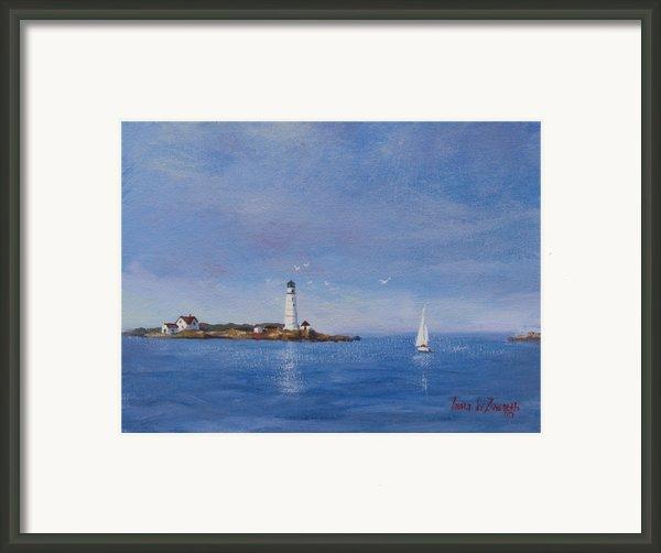 Sailing To Boston Light Framed Print By Laura Lee Zanghetti
