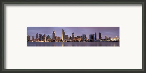 San Diego Skyline At Dusk Panoramic Framed Print By Adam Romanowicz