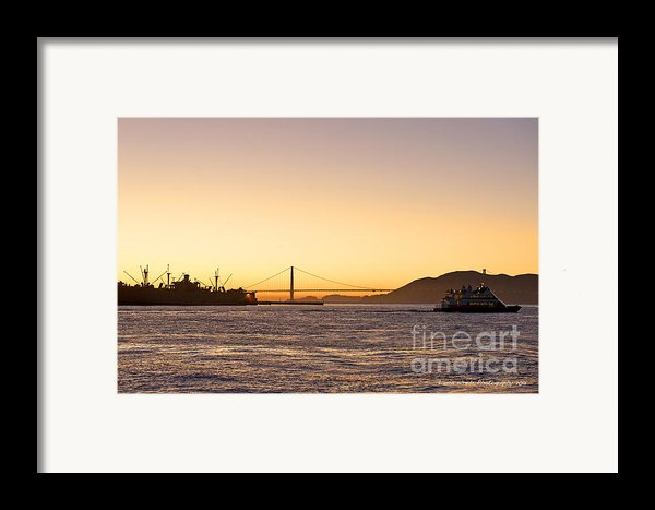 San Francisco Harbor Golden Gate Bridge At Sunset Framed Print By Artist And Photographer Laura Wrede