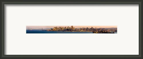 San Francisco Skyline Angel Island California View - Panorama Framed Print By David Rigg