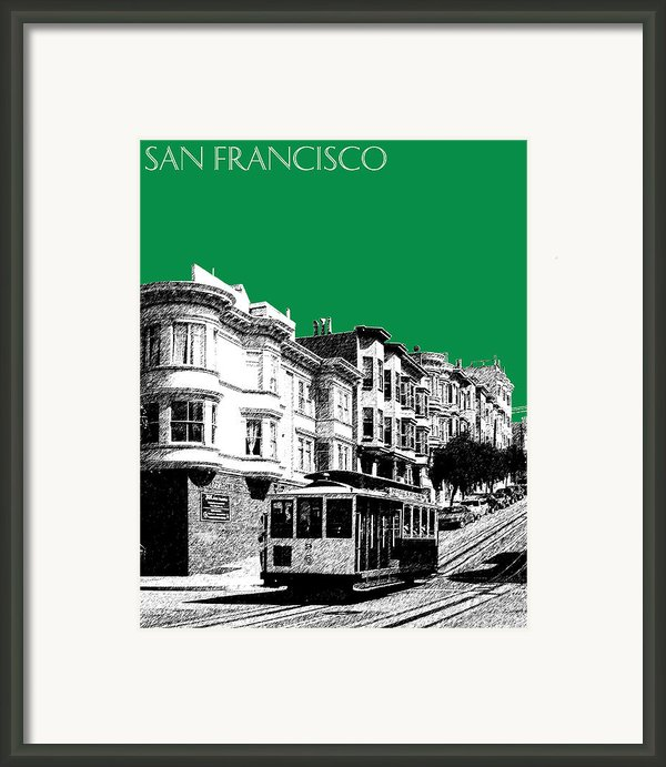 San Francisco Skyline Cable Car 2 - Forest Green Framed Print By Db Artist