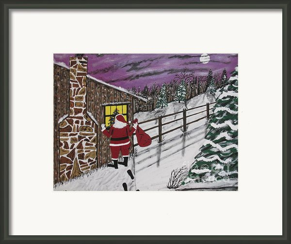 Santa Claus Is Watching Framed Print By Jeffrey Koss
