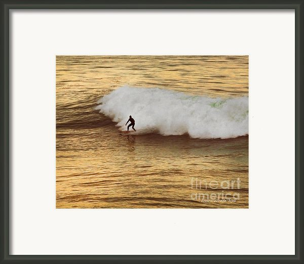 Santa Cruz Surfing At The Golden Hour Framed Print By Artist And Photographer Laura Wrede