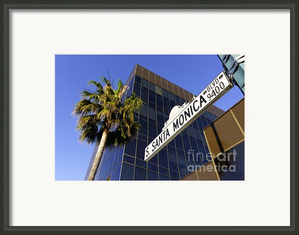 Santa Monica Blvd Sign In Beverly Hills California Framed Print By Paul Velgos