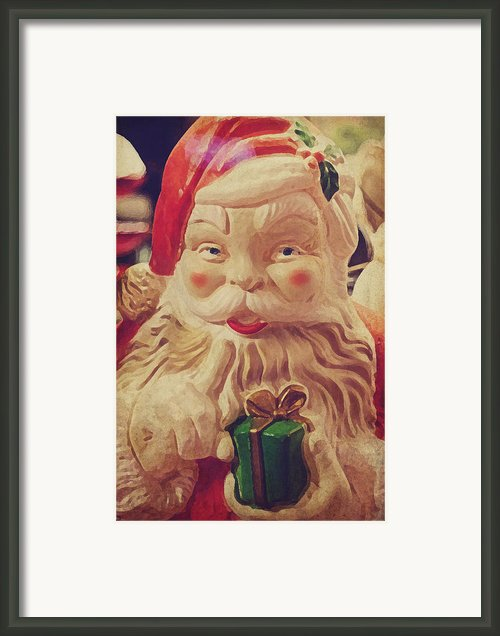 Santa Whispers Vintage Framed Print By Toni Hopper