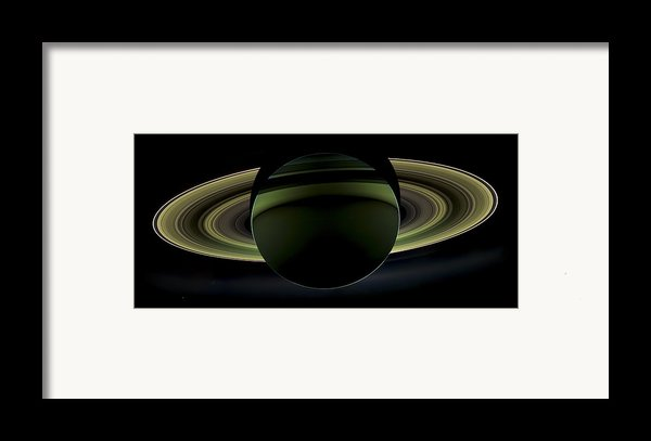 Saturns Glowing Rings Framed Print By Adam Romanowicz
