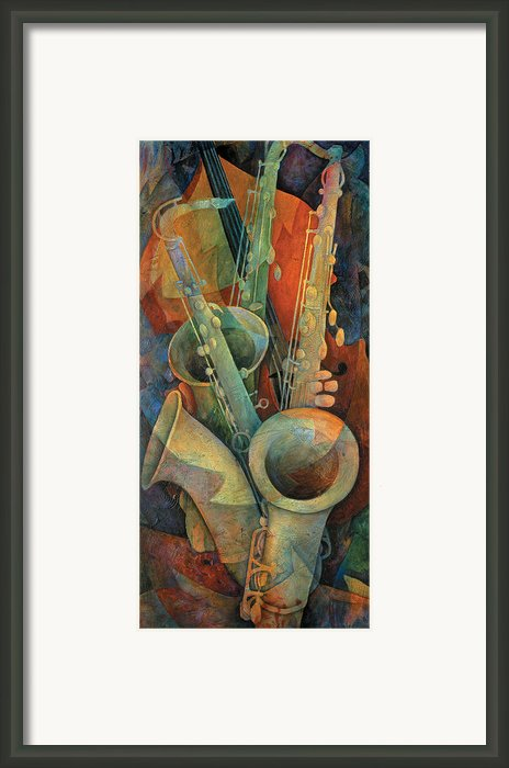Saxophones And Bass Framed Print By Susanne Clark
