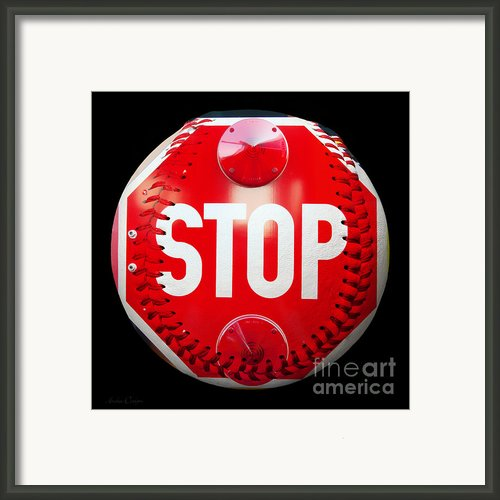 School Bus Stop Sign Baseball Square Framed Print By Andee Photography