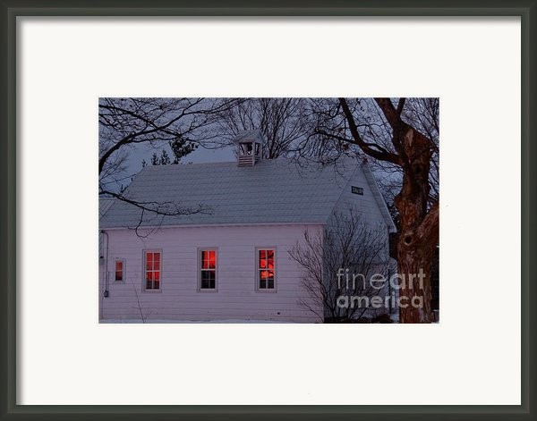 School House Sunset Framed Print By Cheryl Baxter