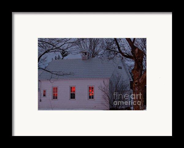 School House Sunset Framed Print By Cheryl Baxter
