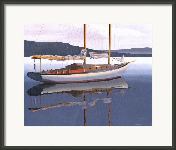 Schooner At Dusk Framed Print By Gary Giacomelli
