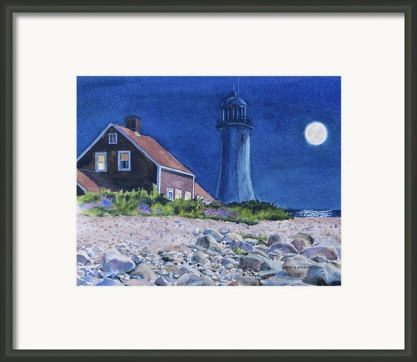 Scituate Light By Night Framed Print By Karol Wyckoff