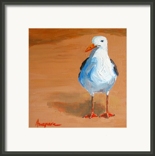 Seagull - Beach Bird Framed Print By Patricia Awapara