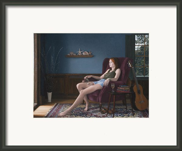 Seashells And Guitar Framed Print By Charles Pompilius