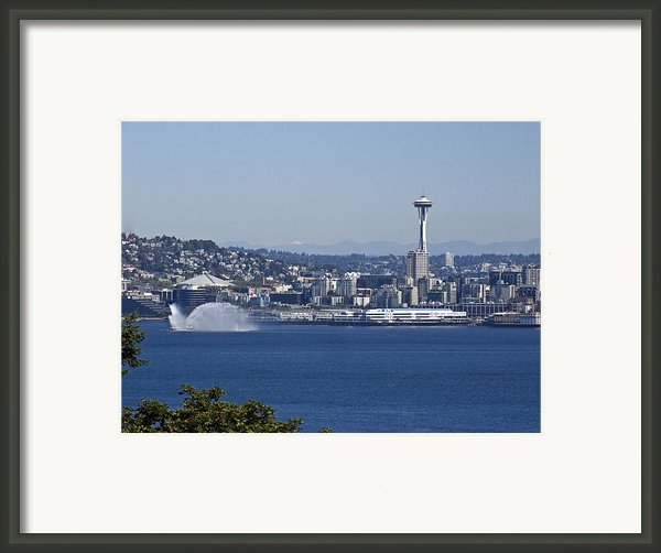Seattle Space Needle And Fire Boat Framed Print By Ron Roberts