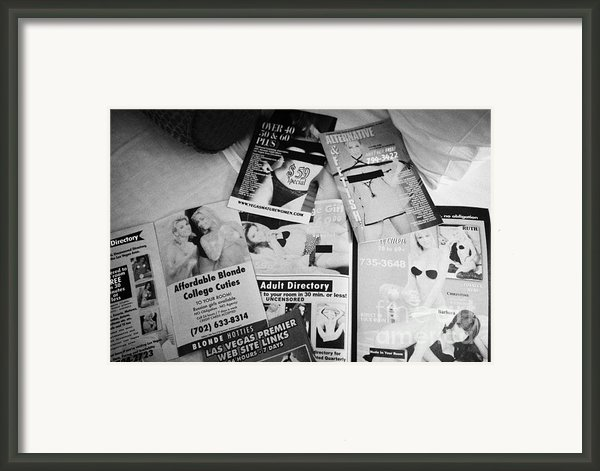 Selection Of Leaflets Advertising Girls Laid Out On A Hotel Bed In Las Vegas Nevada Usa Framed Print By Joe Fox