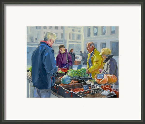Selling Vegetables At The Market Framed Print By Dominique Amendola