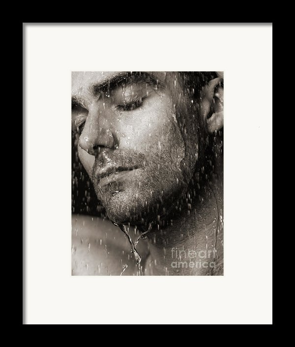 Sensual Portrait Of Man Face Under Pouring Water Black And White Framed Print By Oleksiy Maksymenko