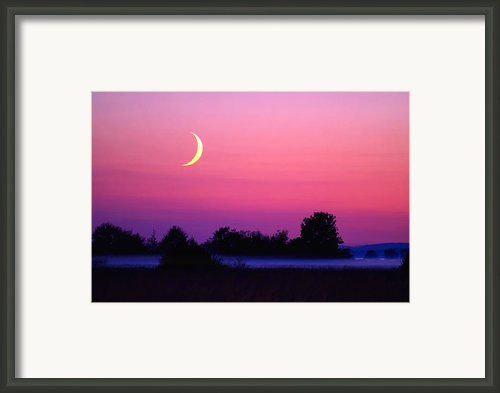 Setting Crescent Moon At Dusk Framed Print By Douglas Taylor