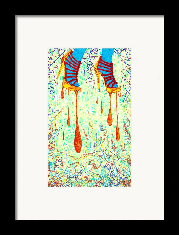 Sexy High Heels Gold Abstraction Framed Print By Kenal Louis