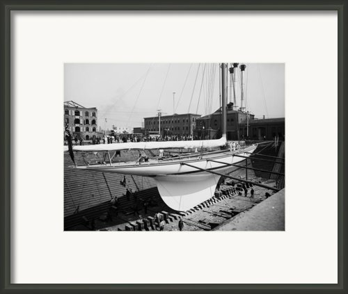 Shamrock 3 In Dry Dock 1903 Framed Print By Stefan Kuhn