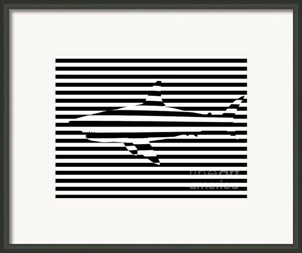 Shark Optical Illusion Framed Print By Pixel Chimp