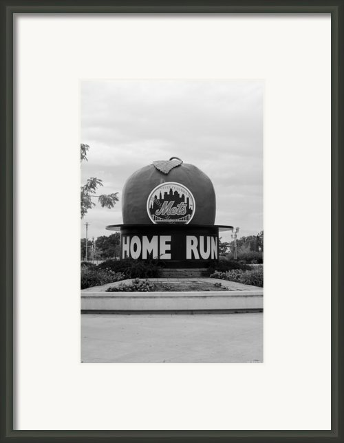 Shea Stadium Home Run Apple In Black And White Framed Print By Rob Hans