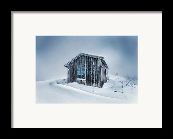 Shed In The Blizzard Framed Print By Evgeni Dinev
